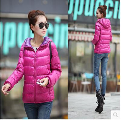 Женский пуховик 2014 UNIQLO дамы тонкие короткие вниз куртка с капюшоном куртка плюс размер пальто подлинной Распродажа
