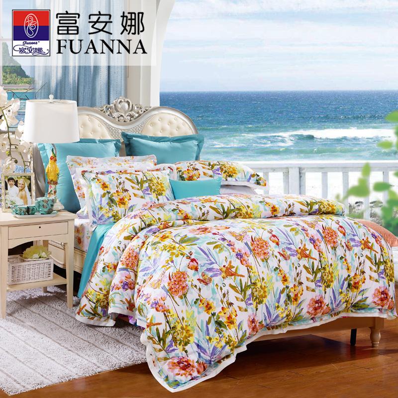 富安娜家纺天丝四件套贡缎床单套件御景啼香新品