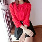 2015春季新款 韩版蝴蝶结 泡泡袖 衬衫女 长袖红色气质雪纺衫