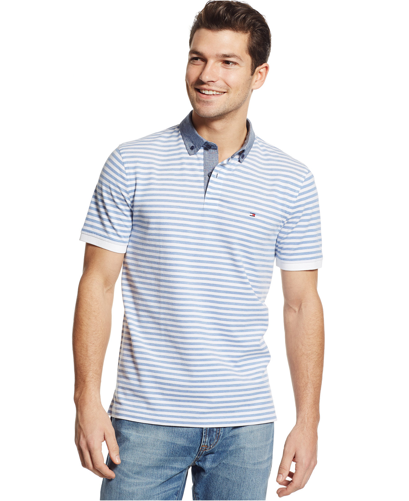 Рубашка поло Tommy hilfiger 2015 Tommy Polo рубашка tommy hilfiger mw0mw03105 902 bright white royal blue