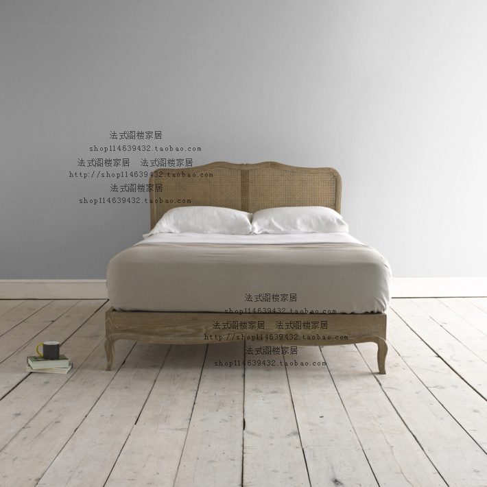 спальня из ротанга French/style loft home кровать из массива дерева french style loft furniture
