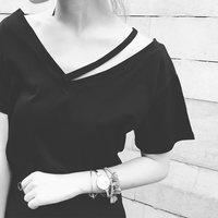 【现货秒发】女装前后V领露肩领口镂空短袖T恤宽松百搭T502
