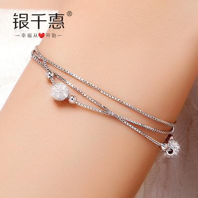 银千惠925纯银手链女 转运珠银饰品日韩版多层 生日礼物送女友