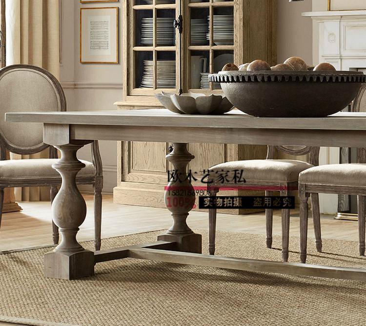 Стол обеденный Американская страна столовая группа континентальный ресторан ретро старый обеденный стол чистой древесины обеденный стол фабрика прямой обычай