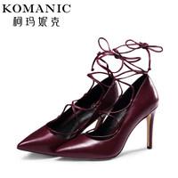 柯玛妮克/Komanic 高端臻品系列 长绑带羊皮女鞋 细跟单鞋K55244