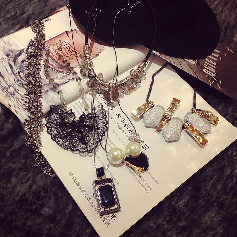 Ожерелье Зло девушки Корейский моды одежда, Детские зимние 2014 новый Джокер шкафы горный хрусталь/жемчуга колье колье
