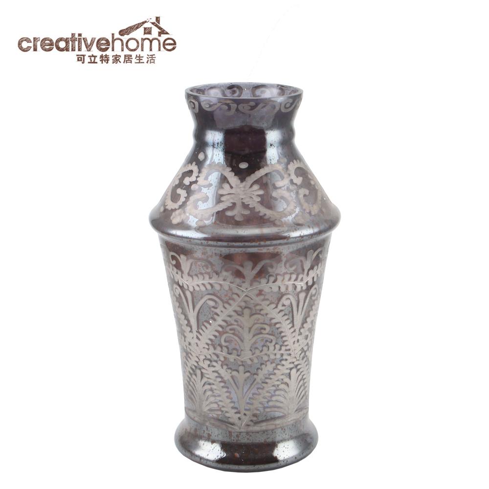 可立特水银玻璃进口图案花瓶 CH0027