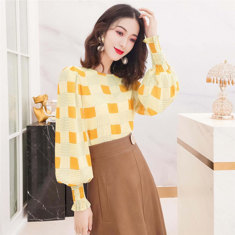 韩衣女王2020秋装新款黄色格子长袖雪纺衫女气质泡泡袖洋气上衣秋
