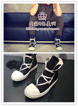 Rick Owens Real RO Vice-line DRKSHDW Five-awn Star High-top Canvas Men's Shoes and Women's Shoes Dakuangwei Couple
