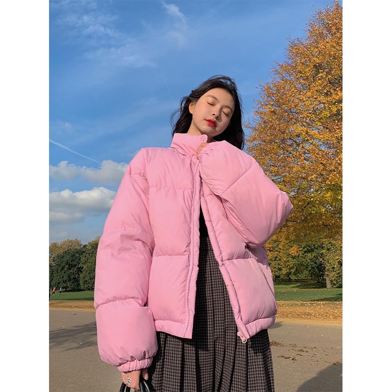 范智乔 立领棉衣女冬季韩版宽松面包服小清新加厚短款棉服外套