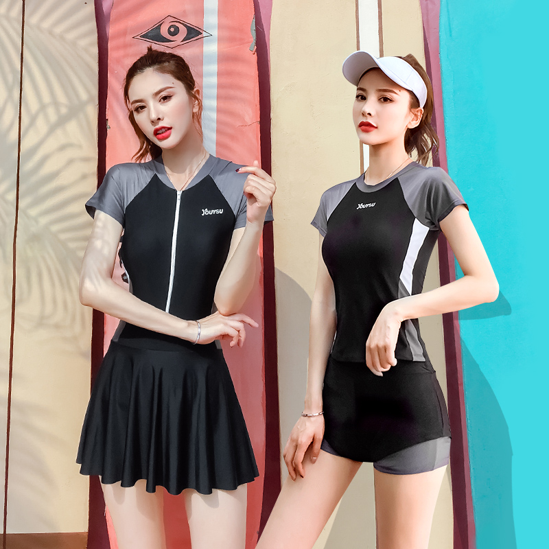 泳衣女保守学生两件套分体式仙女范显瘦遮肚游泳衣韩国ins泳装