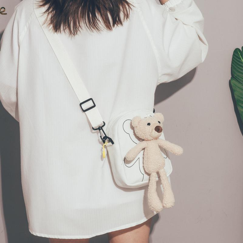 夏天小包包女2020新款潮古着感文艺少女斜挎包可爱少女丑萌小熊包
