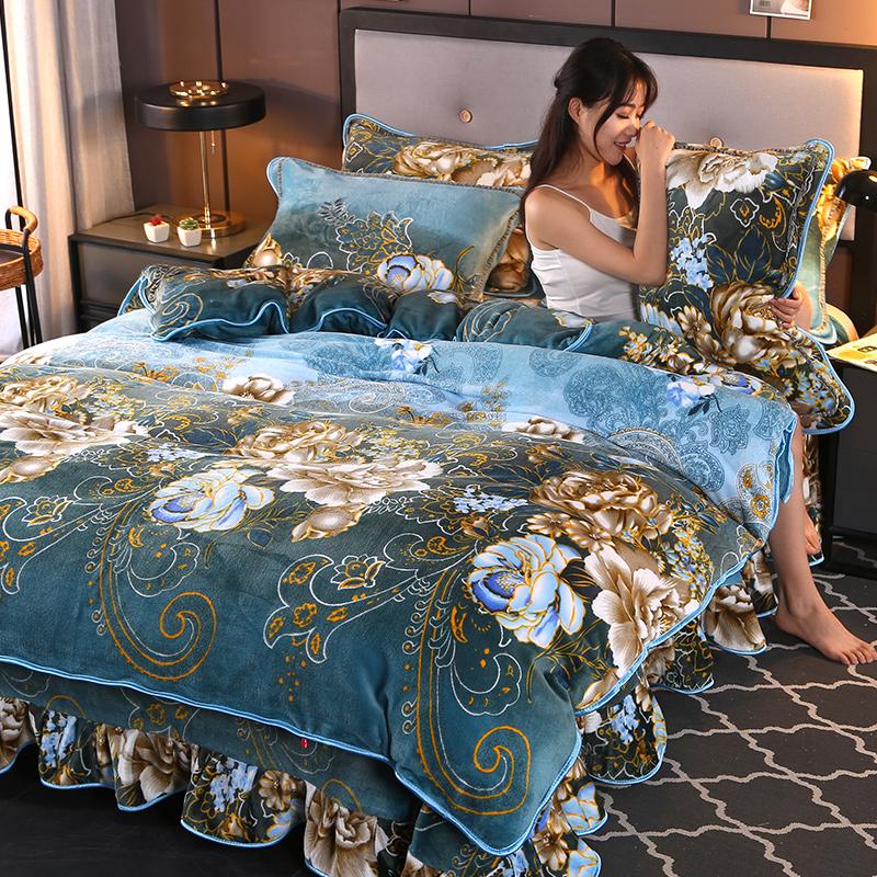 床裙款加厚珊瑚绒四件套冬季法兰绒保暖水晶绒双面法莱绒被套床单