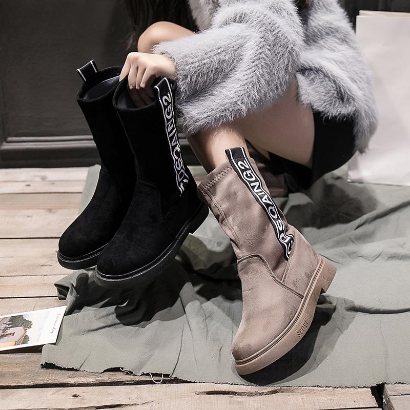 蝶恋朵欧洲站中筒靴子女秋冬2018新款瘦瘦靴平底马丁靴弹力靴女靴