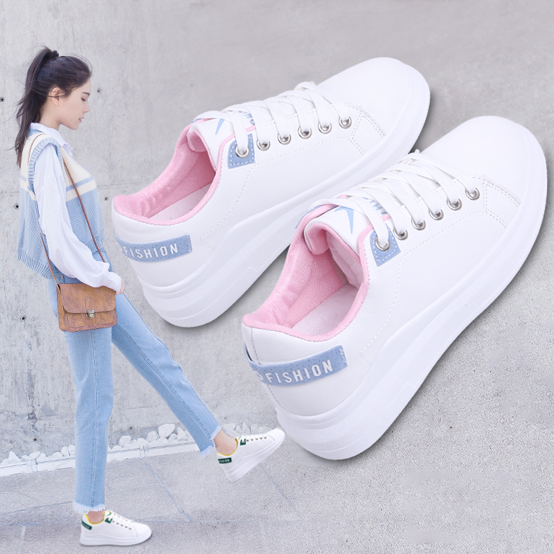 小白鞋女秋冬季2018新款百搭厚底板鞋松糕鞋
