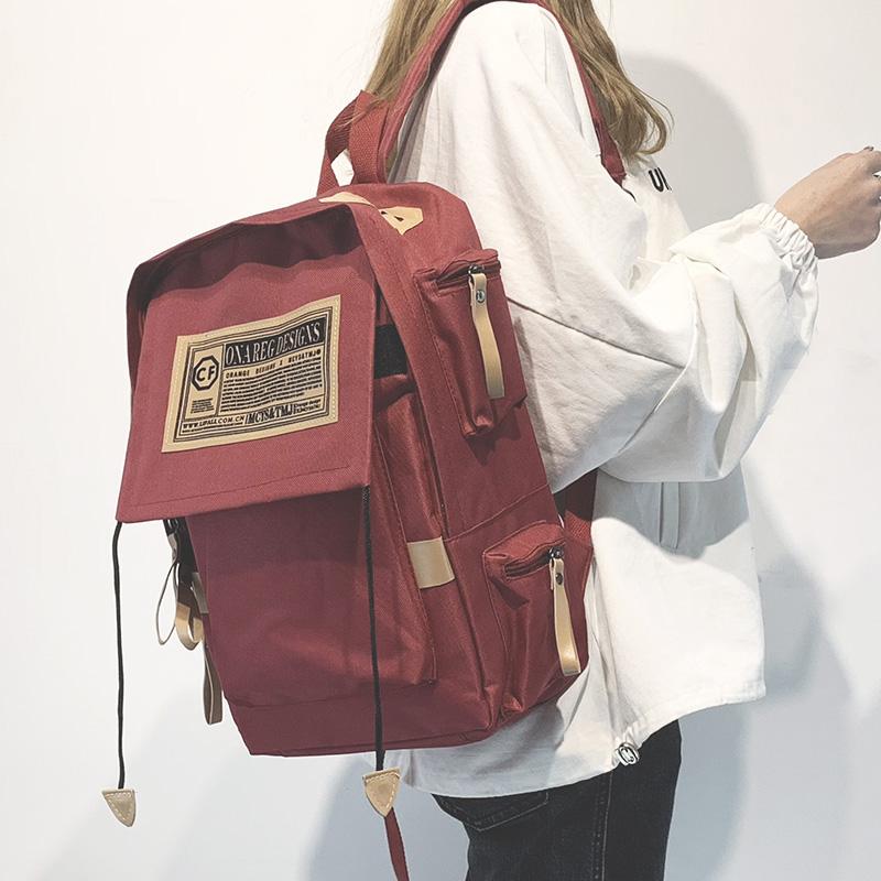 帆布韩版双肩包男电脑包学院风大学生书包女高中潮大容量旅行背包