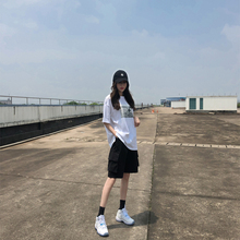Ms. Xia Han's Loose Straight Barrel Bf Leisure Trousers with High Waist and Hong Kong Flavor Ins Tide Sports Five Points
