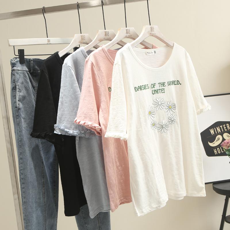 夏季新款200斤胖妹妹刺绣字母宽松大板型大码女装短袖t恤衫半袖