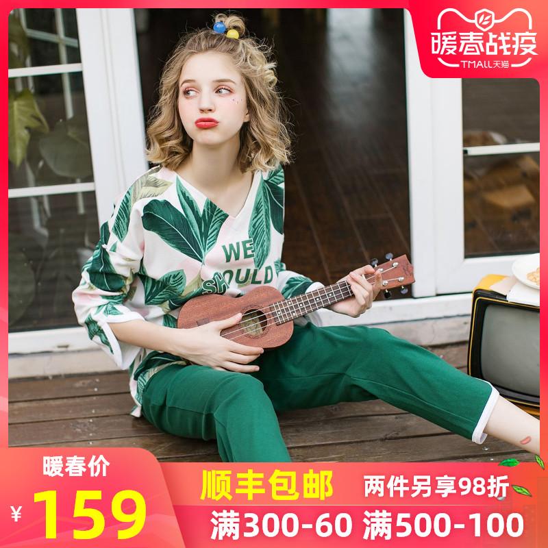 芬腾春秋睡衣女长袖纯棉北欧韩版时尚宽松春秋新款甜美家居服套装