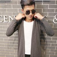 男士假两件长袖t恤秋衣韩版修身衣服潮秋季外套发型师青少年男装