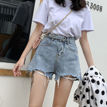 Jeans Shorts Female Summer 2019 New High waist Outside Wear Loose Wide Legs Korean version Slim A-Short Hot Pants Trend