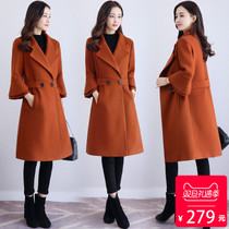 女士呢子大衣中款2017新款韩版中长款冬季加厚秋冬款毛呢尼子外套-