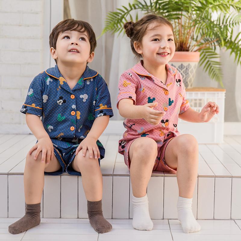 儿童睡衣男童女童薄款夏季纯棉家居服小孩夏天短袖套装亲子空调服