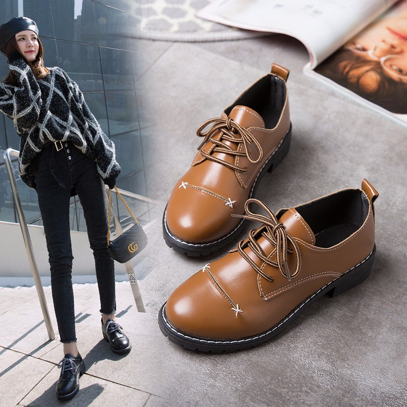小皮鞋女2018秋季单鞋新款英伦风复古黑色系带中跟学院风软妹女鞋