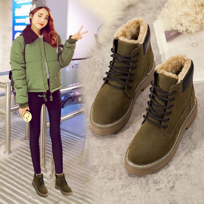 马丁靴女冬季2018新款韩版百搭雪地靴加绒保暖棉鞋学生短靴女靴子