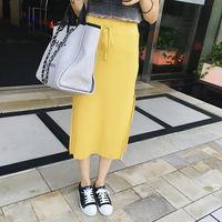 韩版薄款双开叉系带中长款纯色针织包臀裙弹力高腰百褶半身裙女夏