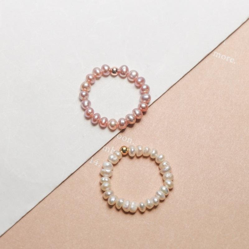 眼观925转运小银珠天然淡水珍珠戒指女日韩轻奢时尚简约百搭饰品