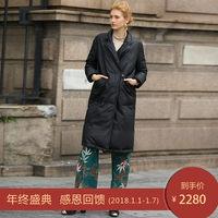 2017新款冬装直筒西装领绵羊皮真皮羽绒服做旧复古皮衣中长款女