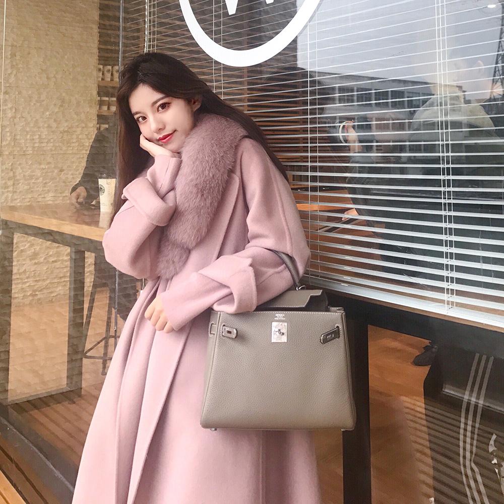 粉色大毛领双面羊绒大衣女2020年新款宽松系带中长款羊毛毛呢外套
