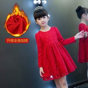 2018新款秋装女童洋气裙子秋冬儿童长袖连衣裙加绒红色女孩公主裙