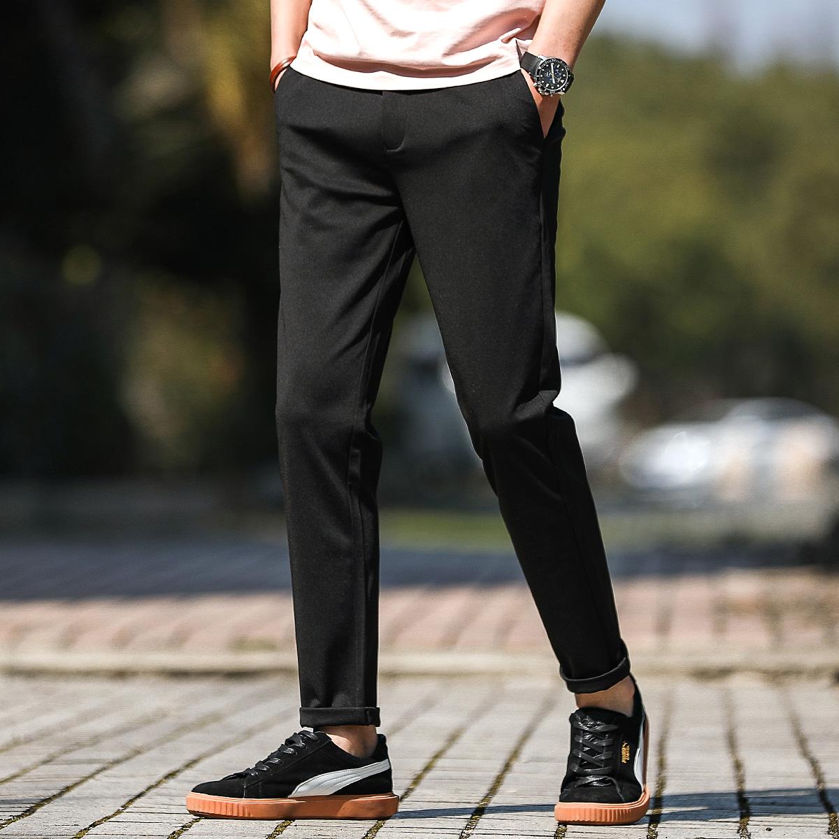 布衣传说夏季薄款纯色休闲裤子男士青年韩版潮流透气直筒小脚长裤