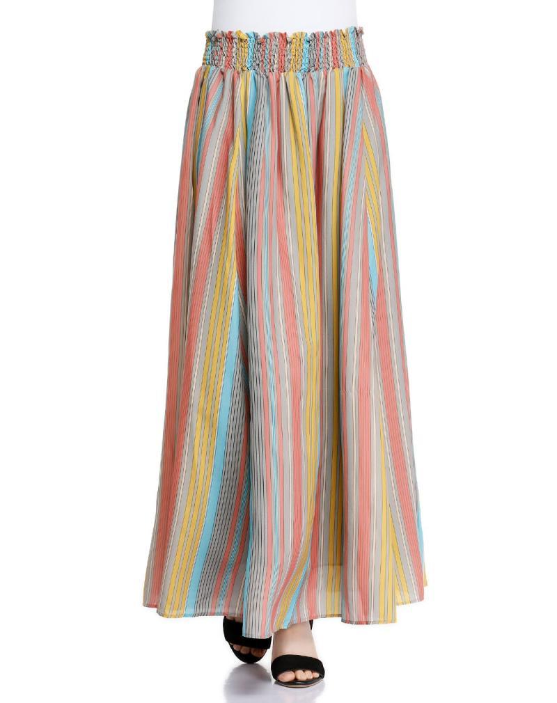 艾格专柜正品女装文艺气质竖条纹可两穿长裙半身裙