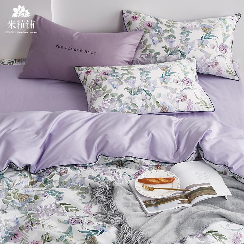 美式60支长绒棉数码印花贡缎四件套 全棉床单被套纯棉床上用品