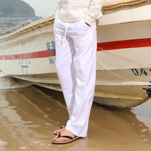 Hong Kong flax casual trousers: loose, thin, breathable, tight tie rope, large beach, White Straight cotton and linen trousers for men