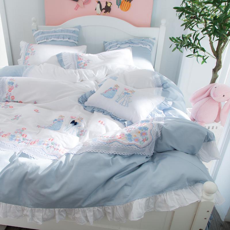 四件套全棉纯棉小清新蕾丝花边刺绣公主风少女心床单被套床上用品