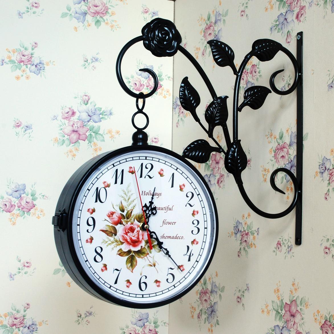 Настенные часы Двухсторонние Часы настенные часы из кованого железа немой творческих гостиной часы стиле современные специальные сельских Королева