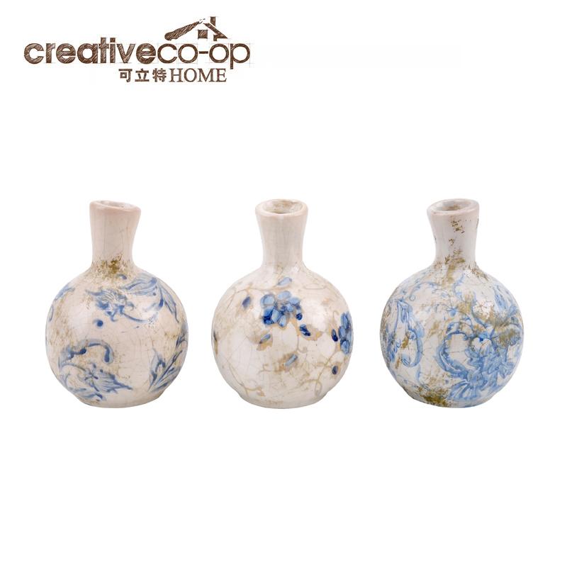 可立特 陶制蓝白图案花瓶