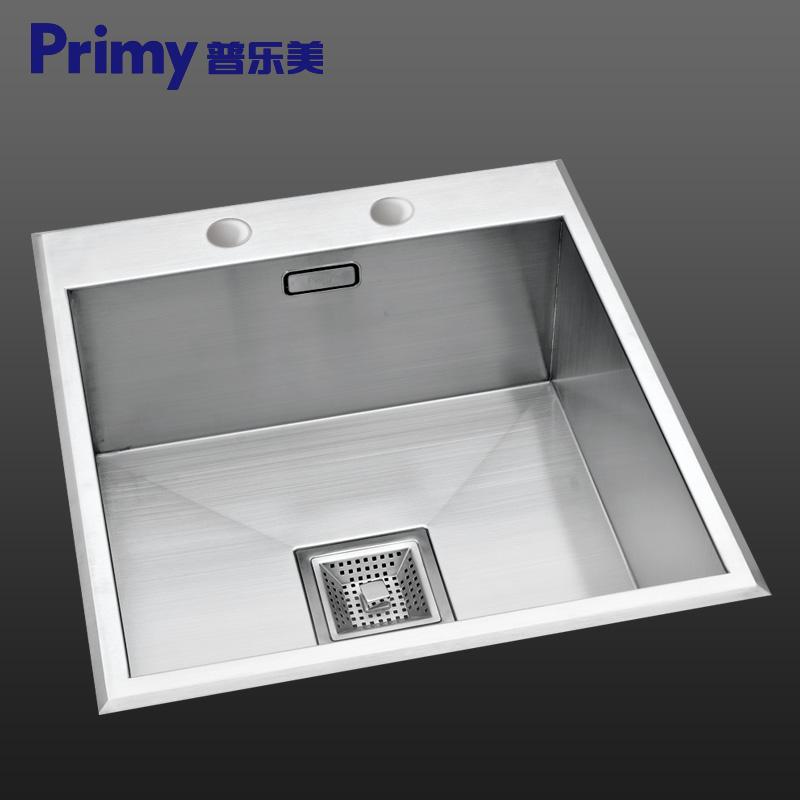 普乐美纯不锈钢高档手工单槽KB155