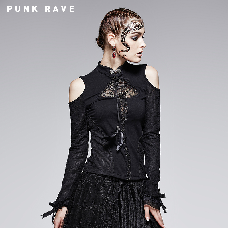 Футболка Punk rave t379 GOTHIC punk rave daft punk rock armor jeans black rivet belt pattern pleated high waist trousers gothic disc flowers buttons pants