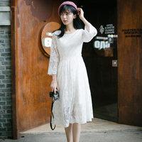 【199两件】搁浅的时光 珍藏美好记忆的白色叶子刺绣气质连衣裙#