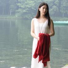 夏季新款棉麻连衣裙双层素棉纱吊带背心裙森女文艺气质淑女裙子仙