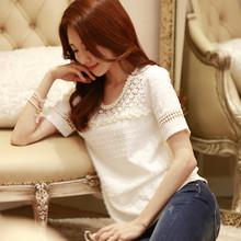 2015夏装新款大码女装宽松打底衬衫韩版蕾丝短袖t恤女上衣雪纺衫