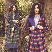 2016冬复古文艺格子羊毛呢短外套一步裙两件套装时尚气质连衣裙女