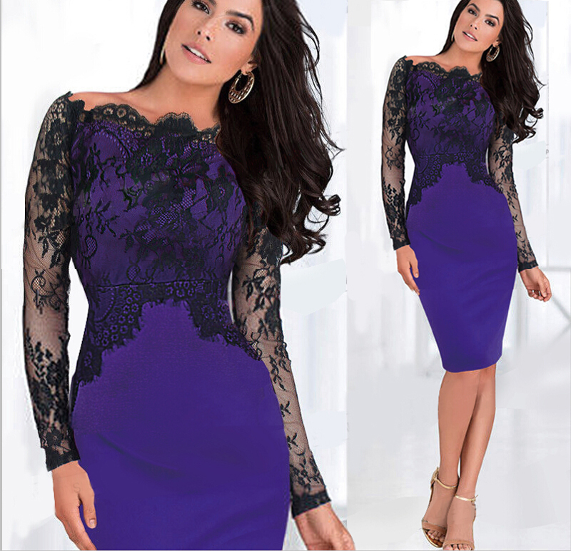 Many stars  Sexy Women Wedding Evening Lace Dress camp crest