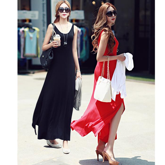 2015夏季新款波西米亚气质长款长裙莫代尔背心裙开叉沙滩连衣裙子