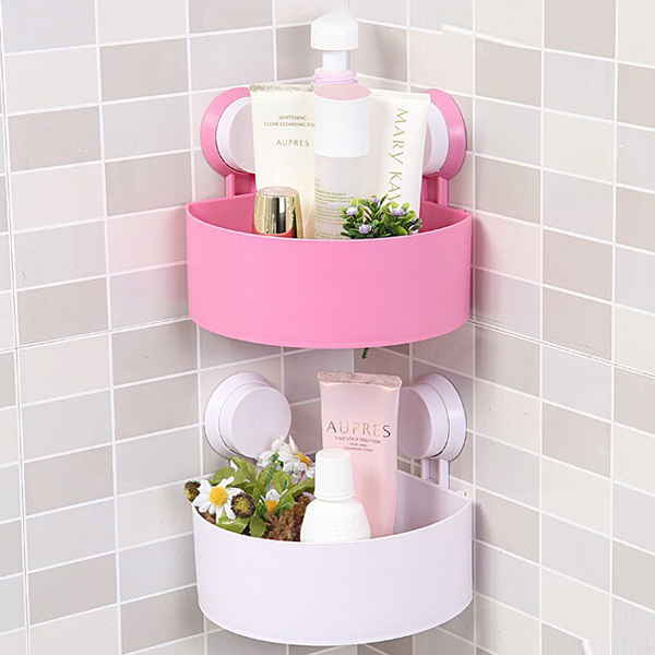 Bathroom shelf suction